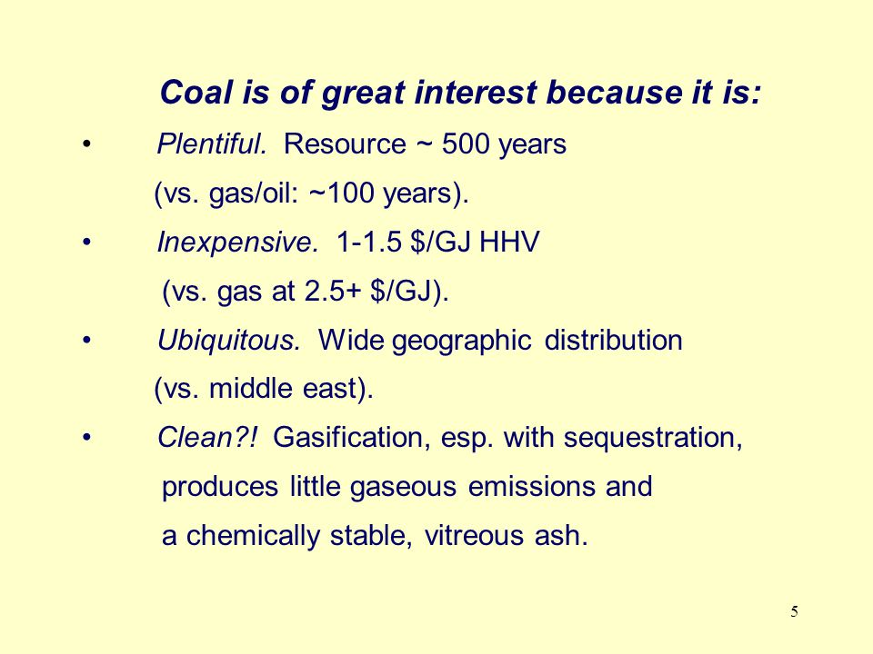 6 European Green Electricity and Hydrogen from Coal Technology Development Area 1 2 3 4