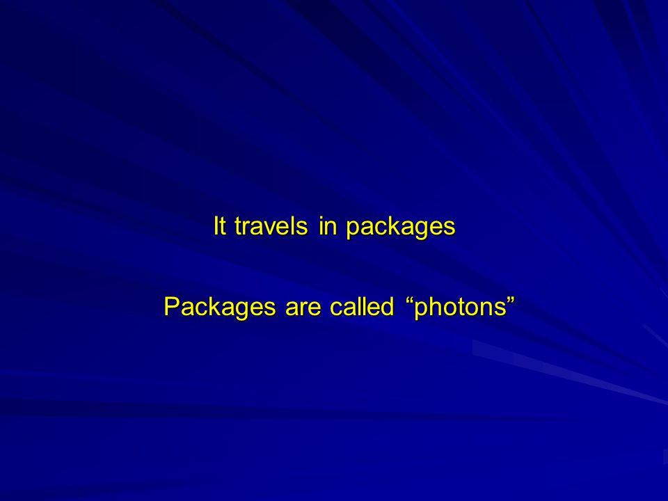 It travels in packages It travels in packages Packages are called photons Packages are called photons