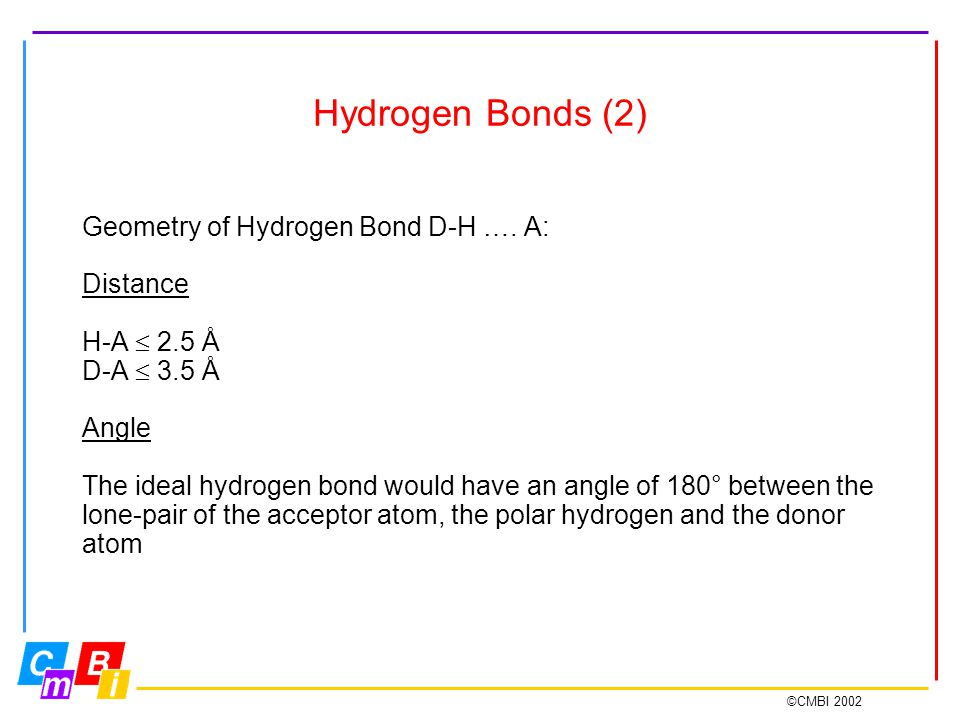 ©CMBI 2002 Hydrogen Bonds (2) Geometry of Hydrogen Bond D-H ….