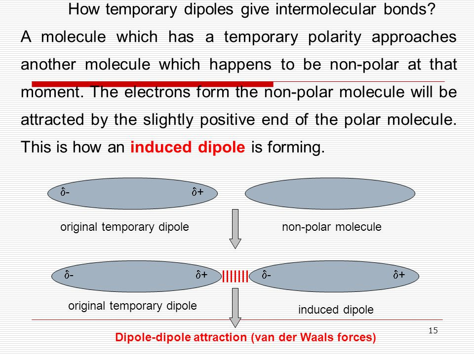 15 How temporary dipoles give intermolecular bonds? A molecule which has a temporary polarity approaches another molecule which happens to be non-pola