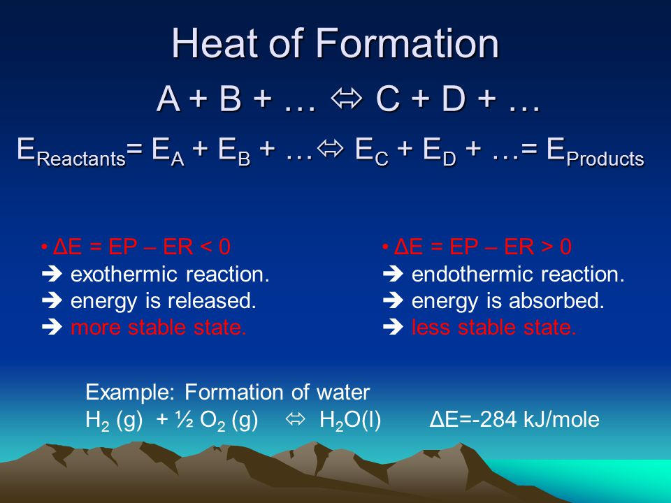 Heat of Formation A + B + …  C + D + … ΔE = EP – ER < 0  exothermic reaction.  energy is released.  more stable state. ΔE = EP – ER > 0  endother