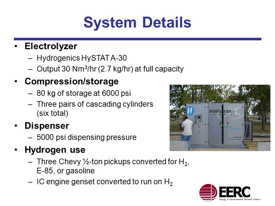 System Details Electrolyzer –Hydrogenics HySTAT A-30 –Output 30 Nm 3 /hr (2.7 kg/hr) at full capacity Compression/storage –80 kg of storage at 6000 psi –Three pairs of cascading cylinders (six total) Dispenser –5000 psi dispensing pressure Hydrogen use –Three Chevy ½-ton pickups converted for H 2, E-85, or gasoline –IC engine genset converted to run on H 2