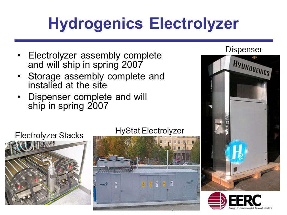 Hydrogenics Electrolyzer Electrolyzer assembly complete and will ship in spring 2007 Storage assembly complete and installed at the site Dispenser complete and will ship in spring 2007 HyStat Electrolyzer Dispenser Electrolyzer Stacks