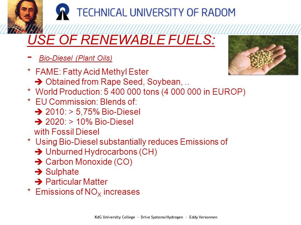 HYDROGEN AS AN ENERGY CARRIER: KdG University College - Drive Systems/Hydrogen - Eddy Versonnen Hydrogen as an energy buffer