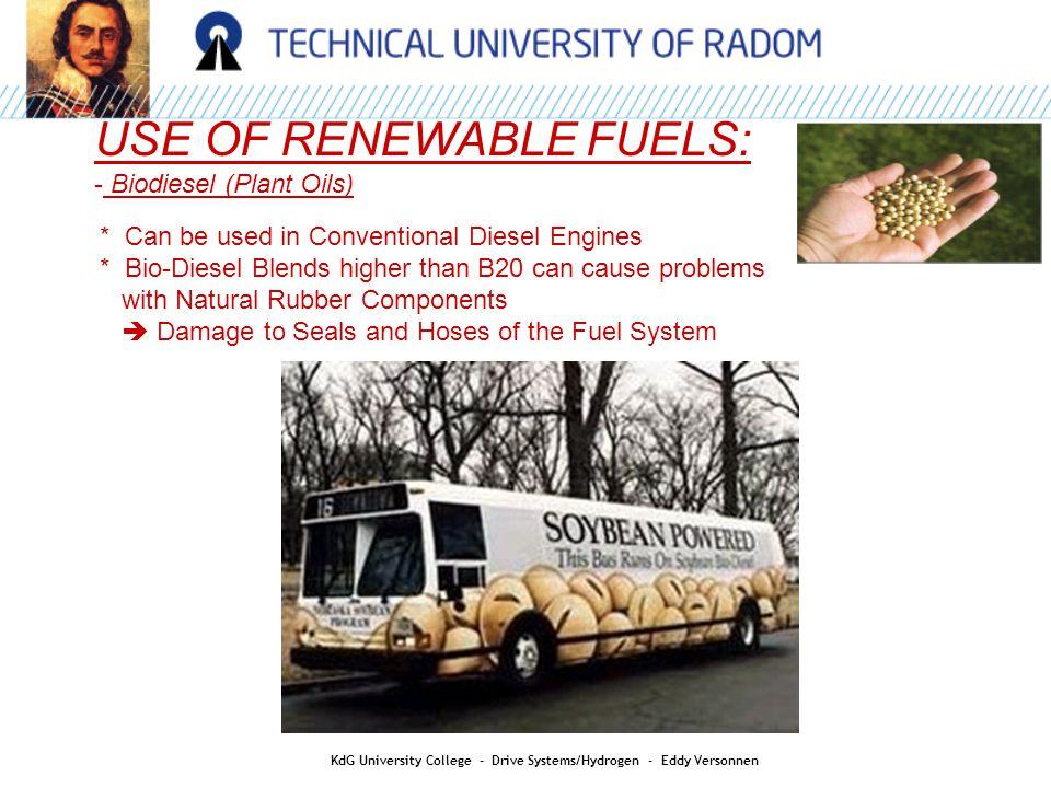 HYDROGEN AS AN ENERGY CARRIER: KdG University College - Drive Systems/Hydrogen - Eddy Versonnen Safety: Hydrogen versus Gasoline * Left: Hydrogen powered vehicle After 3 seconds After 1 minutes After 1min30 * Right: Gasoline powered vehicle