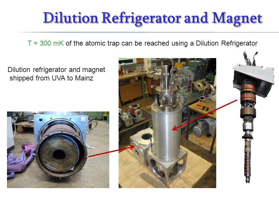 Dilution refrigerator and magnet shipped from UVA to Mainz T = 300 mK of the atomic trap can be reached using a Dilution Refrigerator