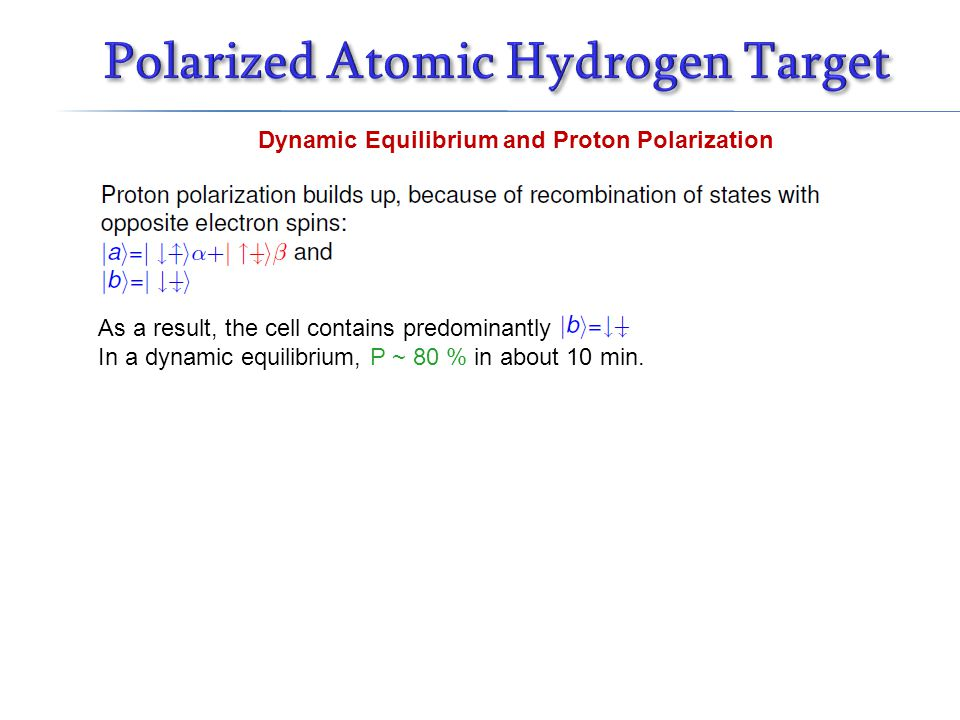 Dynamic Equilibrium and Proton Polarization As a result, the cell contains predominantly In a dynamic equilibrium, P ~ 80 % in about 10 min.