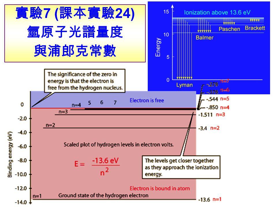 實驗 7 ( 課本實驗 24) 氫原子光譜量度 與浦郎克常數