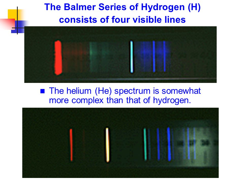 The Balmer Series of Hydrogen (H) consists of four visible lines The helium (He) spectrum is somewhat more complex than that of hydrogen.