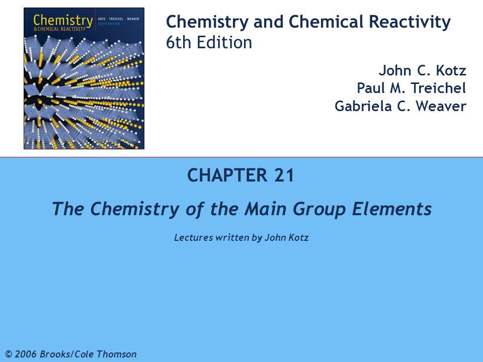 1 © 2006 Brooks/Cole - Thomson Chemistry and Chemical Reactivity 6th Edition John C. Kotz Paul M. Treichel Gabriela C. Weaver CHAPTER 21 The Chemistry