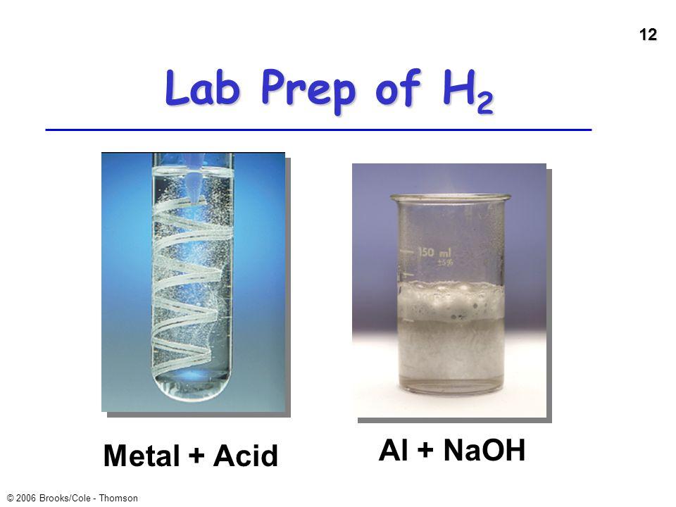 12 © 2006 Brooks/Cole - Thomson Lab Prep of H 2 Metal + Acid Al + NaOH