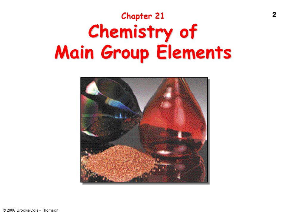 2 © 2006 Brooks/Cole - Thomson Chapter 21 Chemistry of Main Group Elements