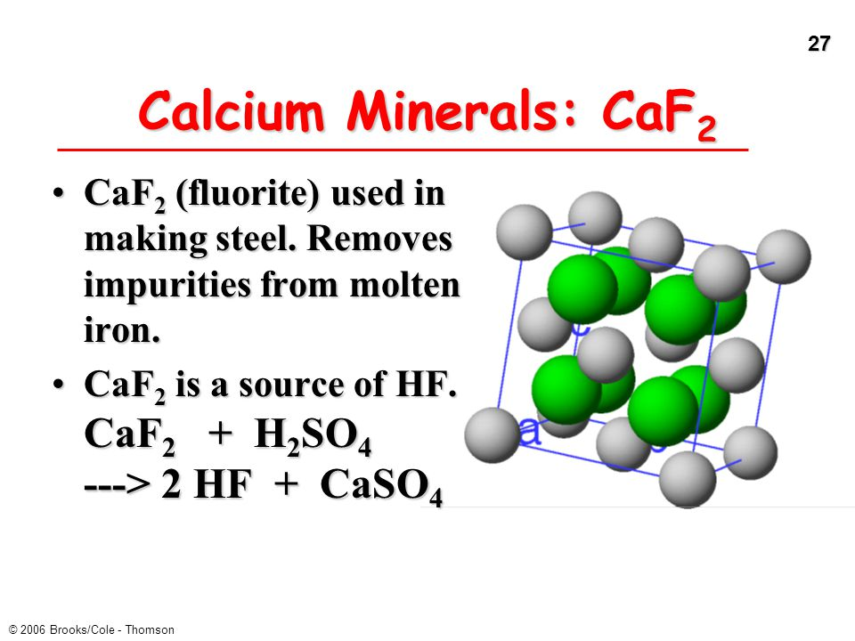 27 © 2006 Brooks/Cole - Thomson Calcium Minerals: CaF 2 CaF 2 (fluorite) used in making steel. Removes impurities from molten iron.CaF 2 (fluorite) us