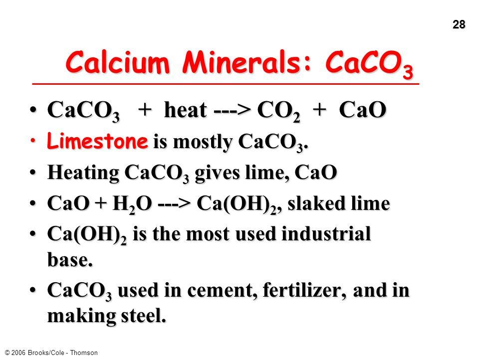 28 © 2006 Brooks/Cole - Thomson Calcium Minerals: CaCO 3 CaCO 3 + heat ---> CO 2 + CaOCaCO 3 + heat ---> CO 2 + CaO Limestone is mostly CaCO 3.Limesto