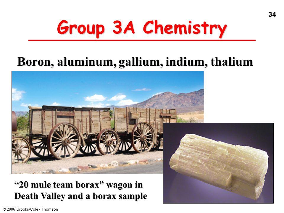 "34 © 2006 Brooks/Cole - Thomson Group 3A Chemistry Boron, aluminum, gallium, indium, thalium ""20 mule team borax"" wagon in Death Valley and a borax sa"