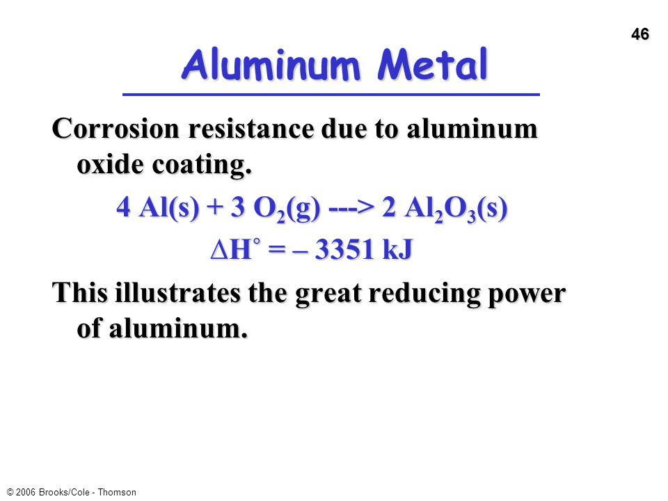 46 © 2006 Brooks/Cole - Thomson Aluminum Metal Corrosion resistance due to aluminum oxide coating. 4 Al(s) + 3 O 2 (g) ---> 2 Al 2 O 3 (s) ∆H˚ = – 335