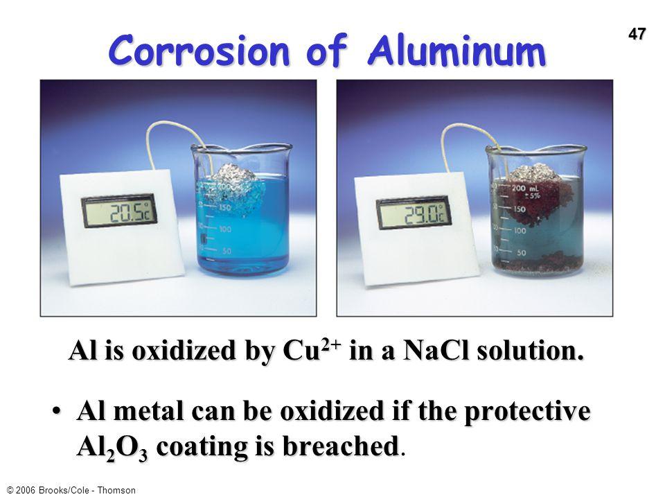 47 © 2006 Brooks/Cole - Thomson Corrosion of Aluminum Al metal can be oxidized if the protective Al 2 O 3 coating is breachedAl metal can be oxidized