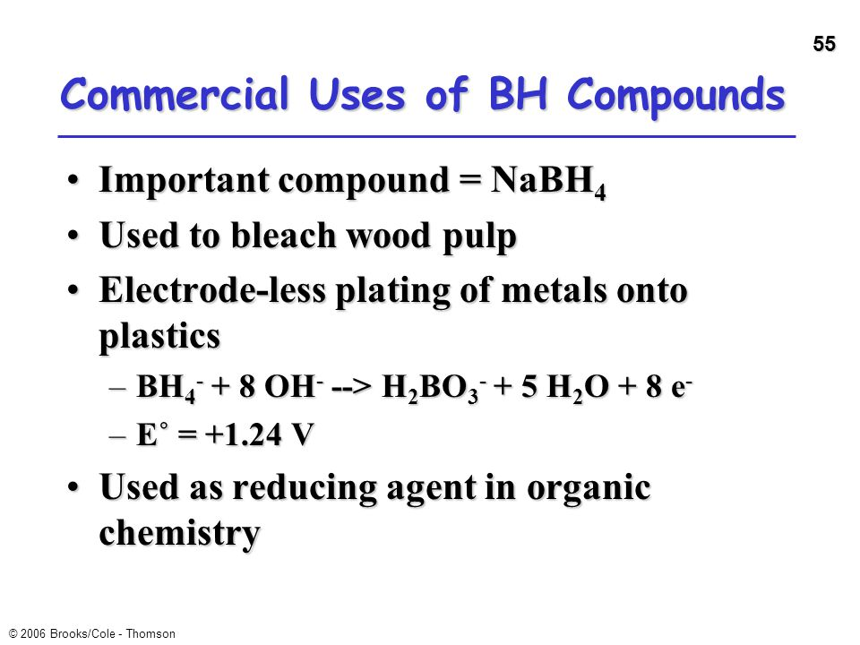55 © 2006 Brooks/Cole - Thomson Commercial Uses of BH Compounds Important compound = NaBH 4Important compound = NaBH 4 Used to bleach wood pulpUsed to