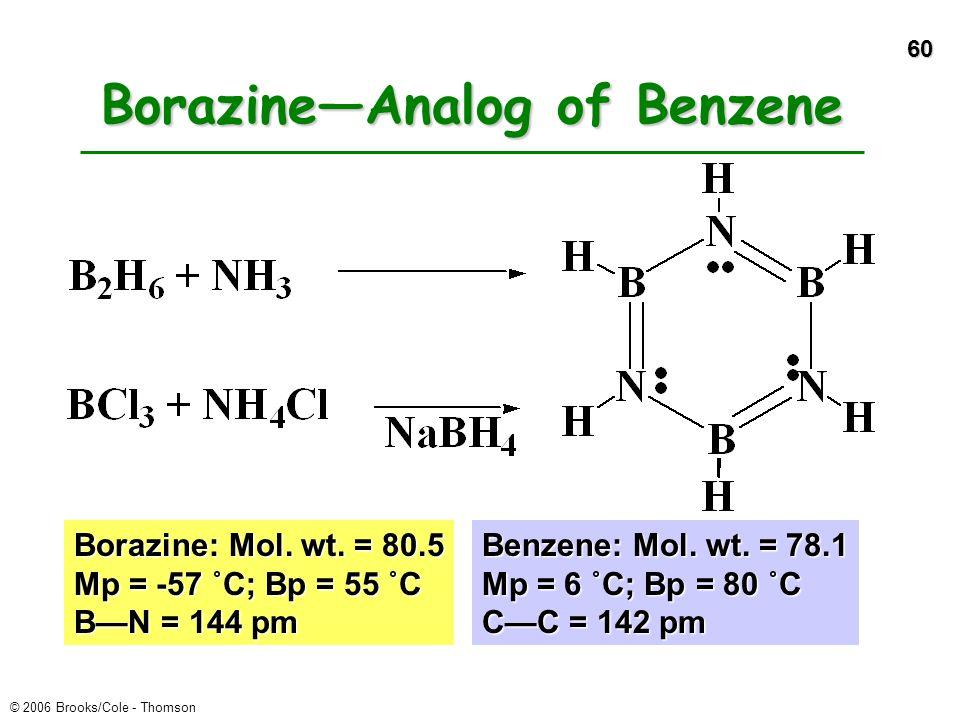 60 © 2006 Brooks/Cole - Thomson Borazine—Analog of Benzene Borazine: Mol. wt. = 80.5 Mp = -57 ˚C; Bp = 55 ˚C B—N = 144 pm Benzene: Mol. wt. = 78.1 Mp