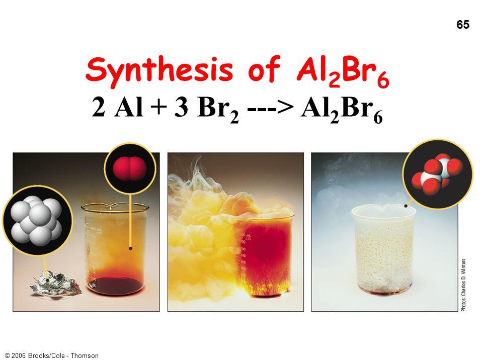 65 © 2006 Brooks/Cole - Thomson Synthesis of Al 2 Br 6 2 Al + 3 Br 2 ---> Al 2 Br 6