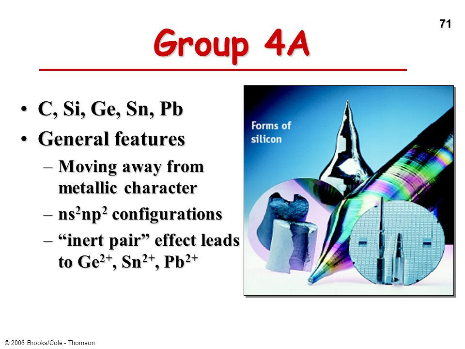 71 © 2006 Brooks/Cole - Thomson Group 4A C, Si, Ge, Sn, PbC, Si, Ge, Sn, Pb General featuresGeneral features –Moving away from metallic character –ns