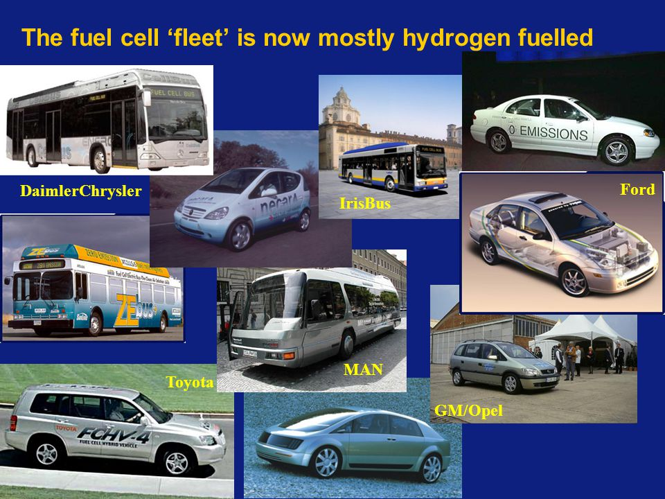 The fuel cell 'fleet' is now mostly hydrogen fuelled DaimlerChrysler Toyota GM/Opel IrisBus MAN Ford