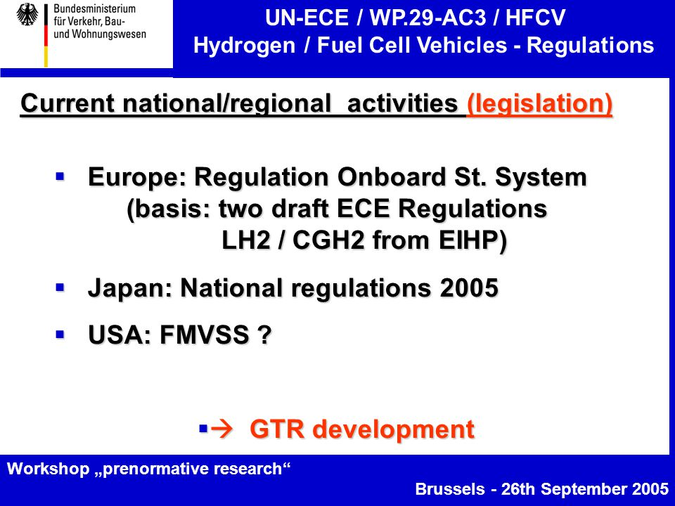 "UN-ECE / WP.29-AC3 / HFCV Hydrogen / Fuel Cell Vehicles - Regulations Workshop ""prenormative research Brussels - 26th September 2005 Current national/regional activities (legislation)  Europe: Regulation Onboard St."