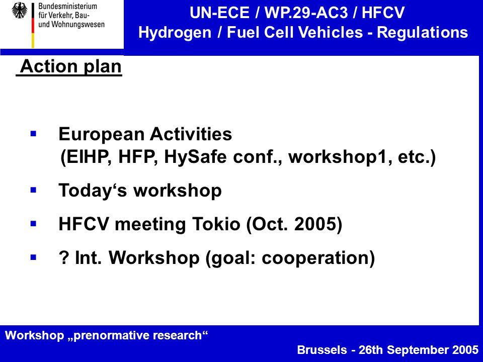 "UN-ECE / WP.29-AC3 / HFCV Hydrogen / Fuel Cell Vehicles - Regulations Workshop ""prenormative research Brussels - 26th September 2005 Action plan  European Activities (EIHP, HFP, HySafe conf., workshop1, etc.)  Today's workshop  HFCV meeting Tokio (Oct."