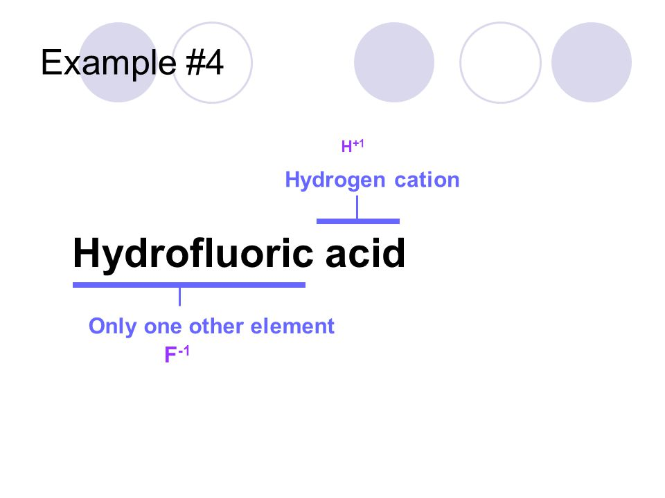 Example #4 Hydrofluoric acid Hydrogen cation Only one other element H +1 F -1