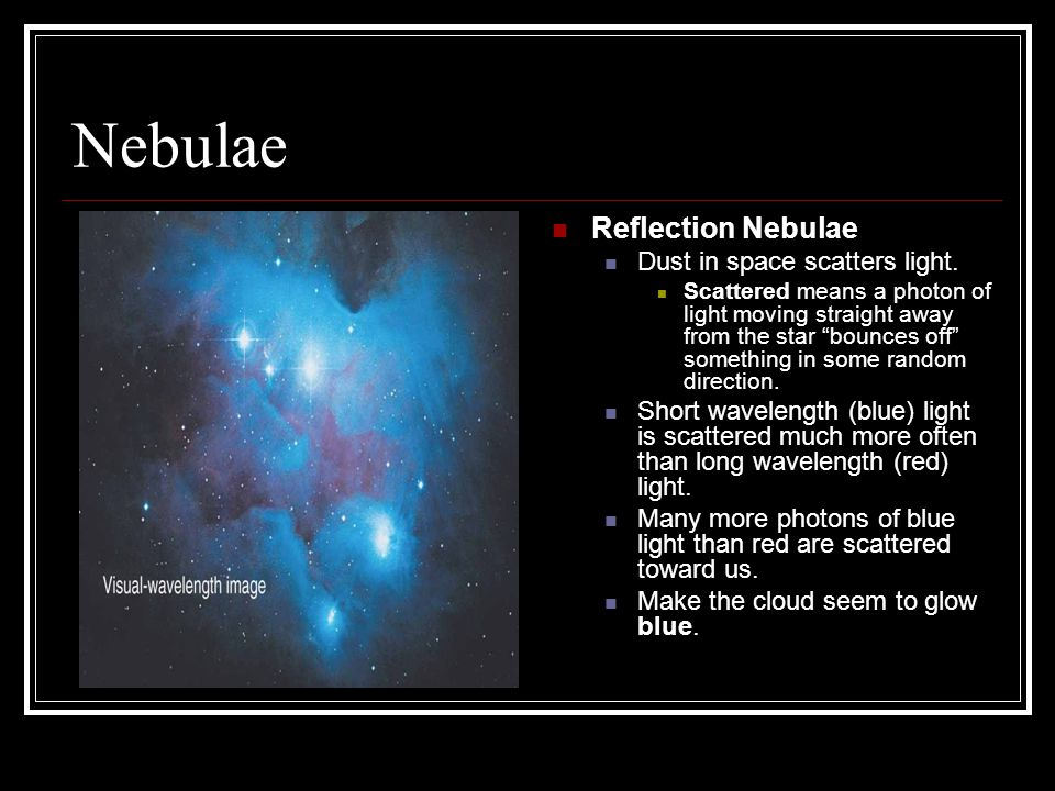 Nebulae Reflection Nebulae Dust in space scatters light.