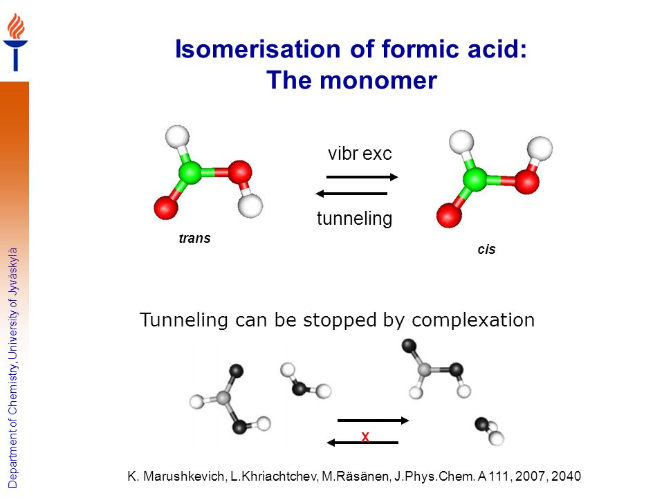 Department of Chemistry, University of Jyväskylä Isomerisation of formic acid: The monomer trans cis tunneling vibr exc K. Marushkevich, L.Khriachtche