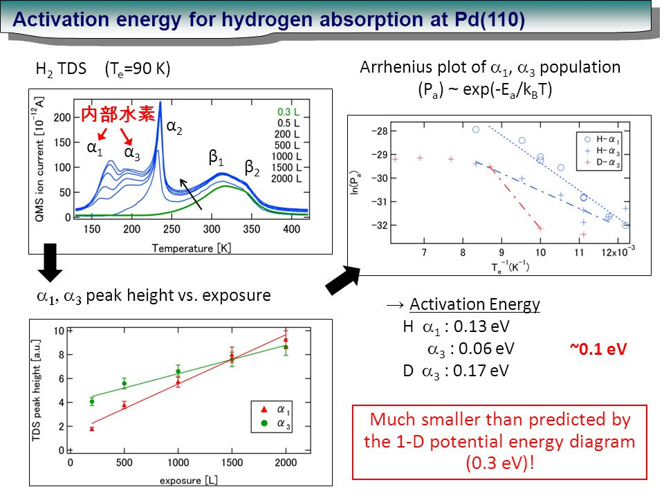 α1α1 α3α3 α2α2 β1β1 β2β2 H 2 TDS (T e =90 K) Activation energy for hydrogen absorption at Pd(110) → Activation Energy H  1 : 0.13 eV  3 : 0.06 eV D  3 : 0.17 eV Much smaller than predicted by the 1-D potential energy diagram (0.3 eV).