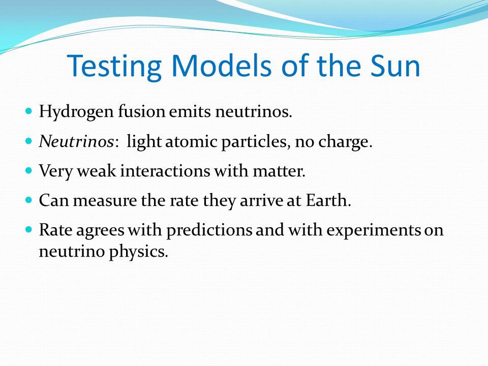 Testing Models of the Sun Hydrogen fusion emits neutrinos.