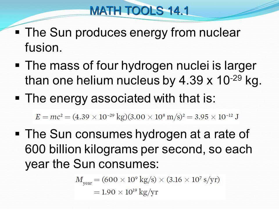  The Sun produces energy from nuclear fusion.