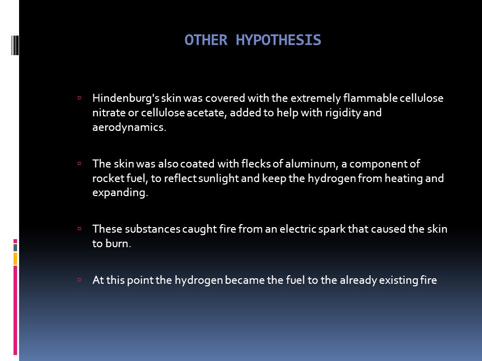 "HYDROGEN FIRE HYPOTHESIS  Initial thoughts:  Paint was both the point of ignition and the sole cause of the rapid spread of the fire.  ""It did not"