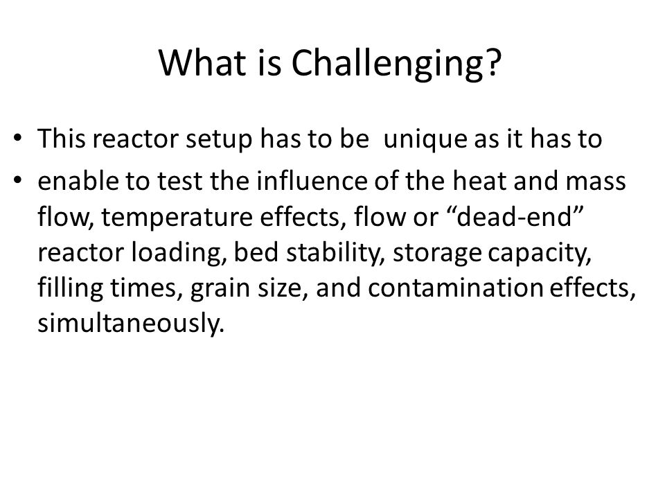 What is Challenging? This reactor setup has to be unique as it has to enable to test the influence of the heat and mass flow, temperature effects, flo