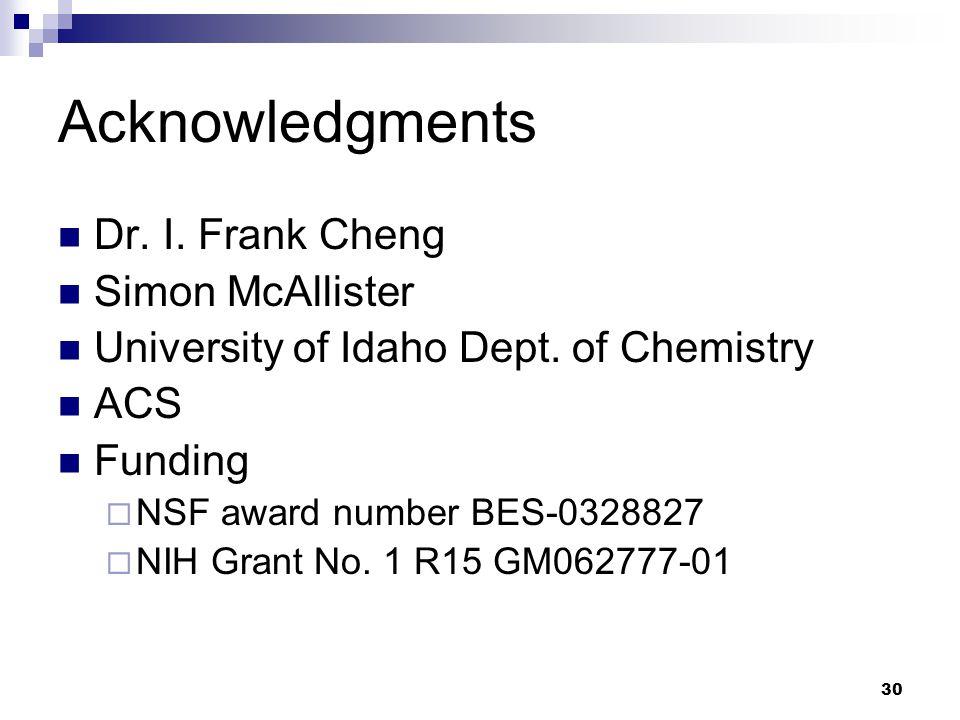 30 Acknowledgments Dr. I. Frank Cheng Simon McAllister University of Idaho Dept. of Chemistry ACS Funding  NSF award number BES-0328827  NIH Grant N