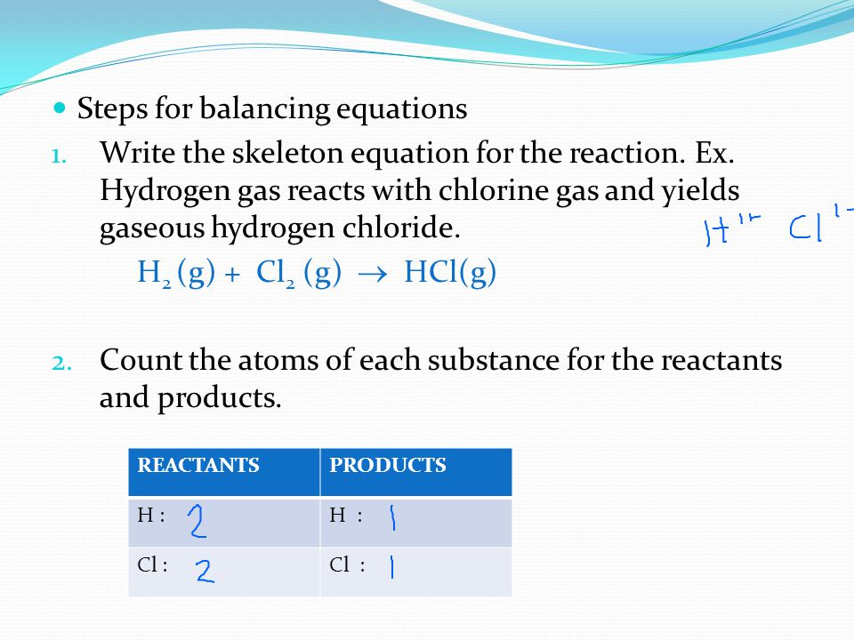 Steps for balancing equations 1. Write the skeleton equation for the reaction. Ex. Hydrogen gas reacts with chlorine gas and yields gaseous hydrogen c
