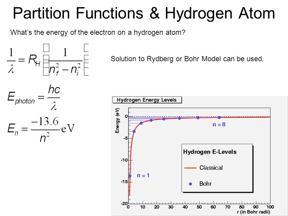 Partition Functions & Hydrogen Atom What's the energy of the electron on a hydrogen atom.