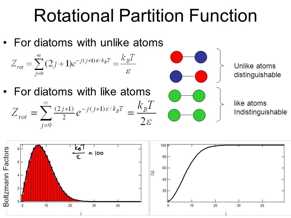 Rotational Partition Function For diatoms with unlike atoms For diatoms with like atoms Unlike atoms distinguishable like atoms Indistinguishable Boltzmann Factors