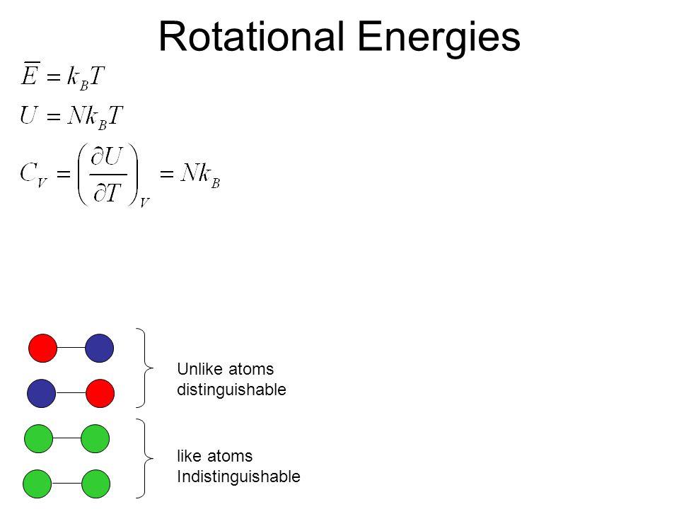 Rotational Energies Unlike atoms distinguishable like atoms Indistinguishable