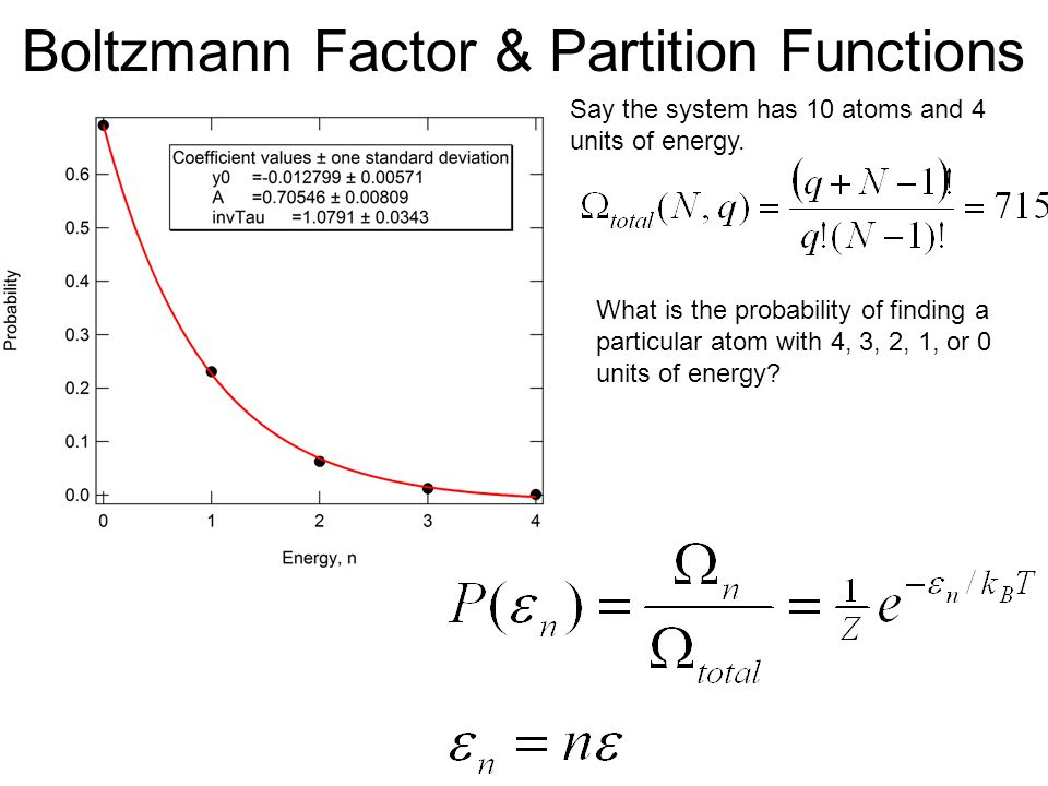 Boltzmann Factor & Partition Functions Say the system has 10 atoms and 4 units of energy. What is the probability of finding a particular atom with 4,