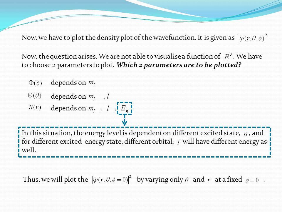 depends on,, depends on, Now, we have to plot the density plot of the wavefunction.
