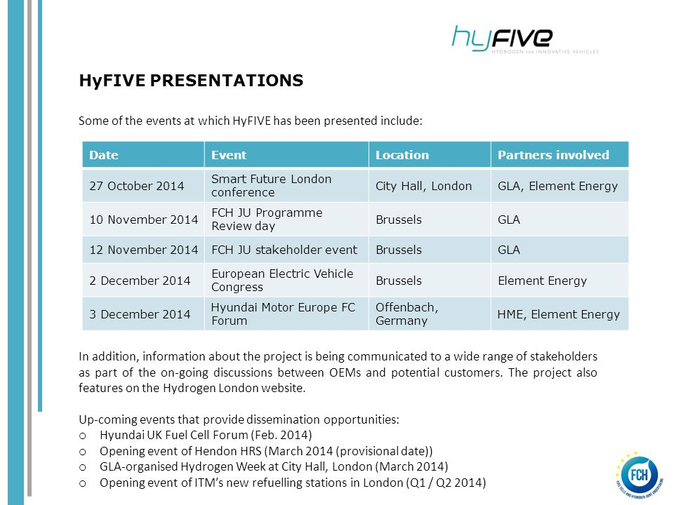 Some of the events at which HyFIVE has been presented include: In addition, information about the project is being communicated to a wide range of stakeholders as part of the on-going discussions between OEMs and potential customers.