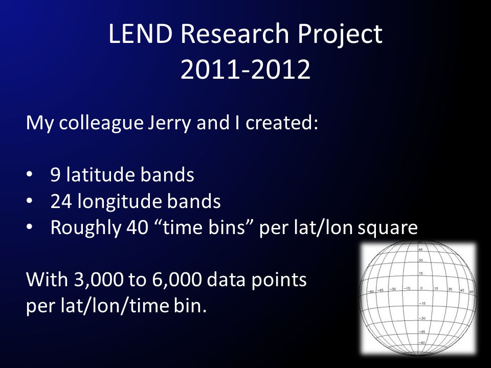 "My colleague Jerry and I created: 9 latitude bands 24 longitude bands Roughly 40 ""time bins"" per lat/lon square With 3,000 to 6,000 data points per la"