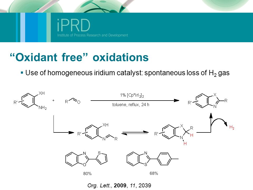 Oxidant free oxidations  Use of homogeneous iridium catalyst: spontaneous loss of H 2 gas Org.