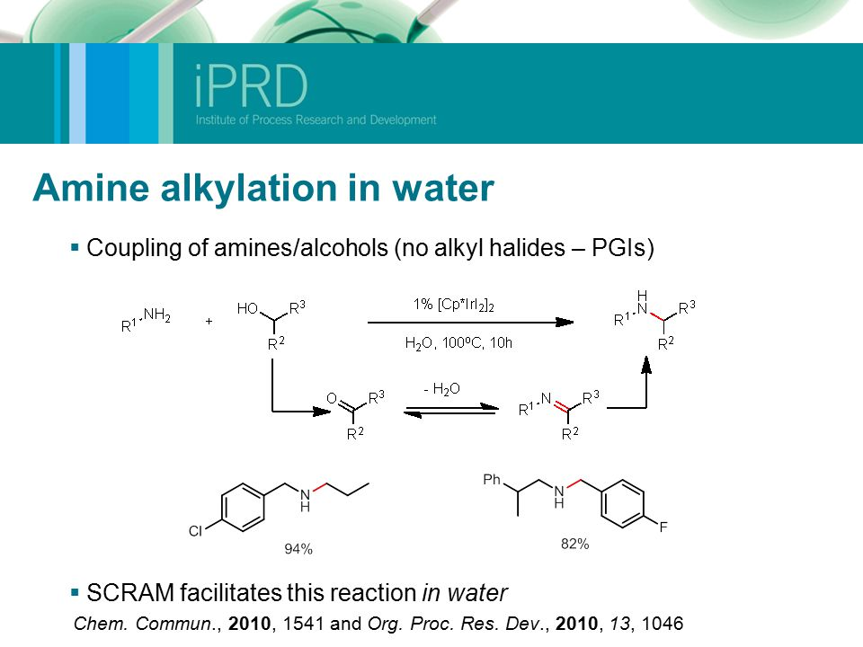 Amine alkylation in water  Coupling of amines/alcohols (no alkyl halides – PGIs)  SCRAM facilitates this reaction in water Chem.