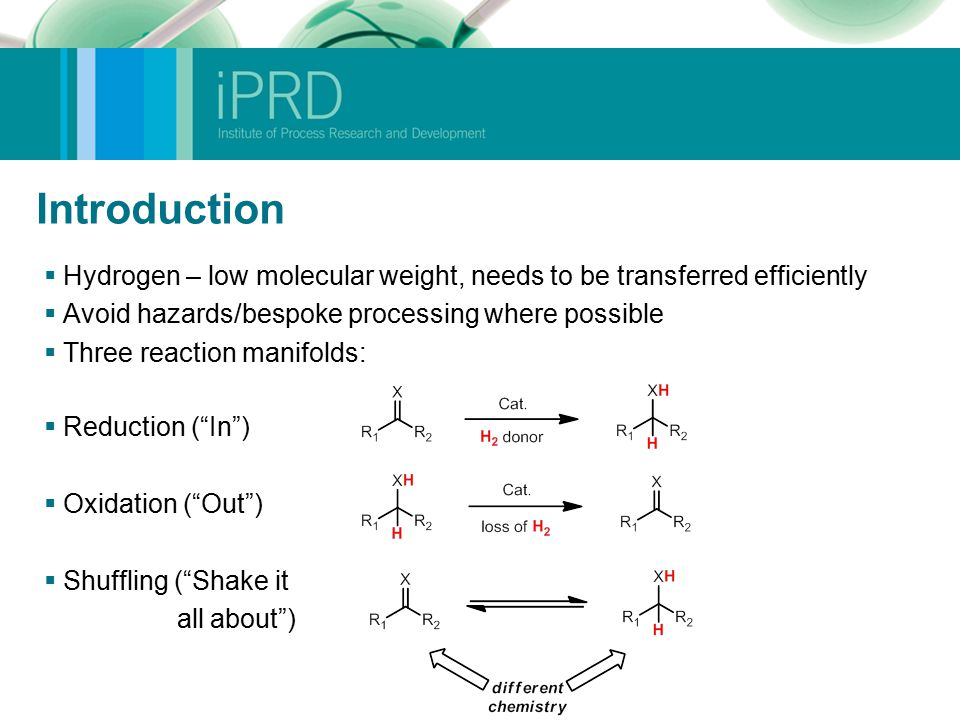 Introduction  Hydrogen – low molecular weight, needs to be transferred efficiently  Avoid hazards/bespoke processing where possible  Three reaction manifolds:  Reduction ( In )  Oxidation ( Out )  Shuffling ( Shake it all about )