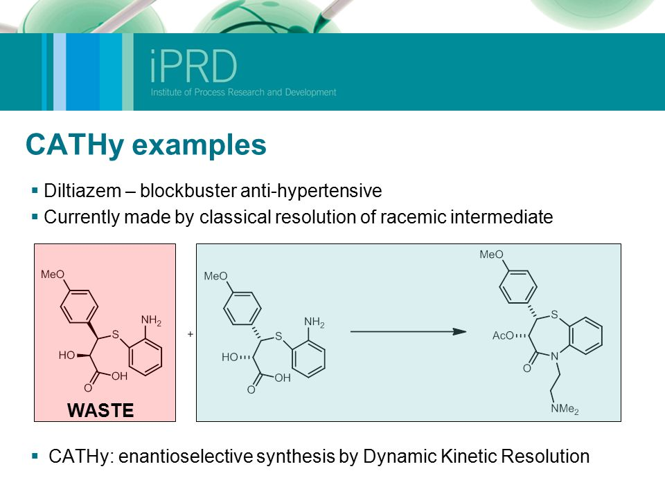 CATHy examples  Diltiazem – blockbuster anti-hypertensive  Currently made by classical resolution of racemic intermediate  CATHy: enantioselective synthesis by Dynamic Kinetic Resolution WASTE