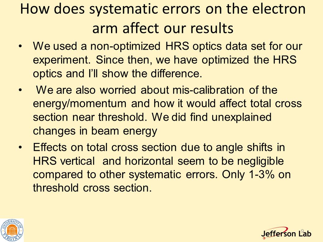 How does systematic errors on the electron arm affect our results We used a non-optimized HRS optics data set for our experiment. Since then, we have
